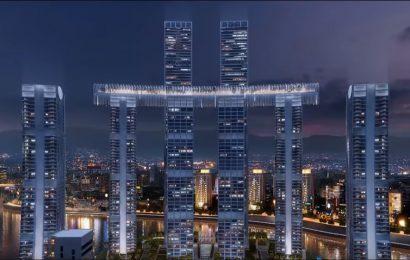 Horizontální mrakodrap v Čchung-čchingu před dokončením